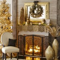 Beaded Metallic Mantel Scarf | Holiday Fireplace Looks ...