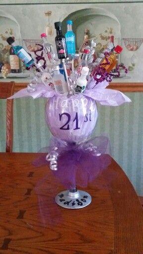 Wine Glass 21st Birthday Shot Bouquet My Work Pinterest