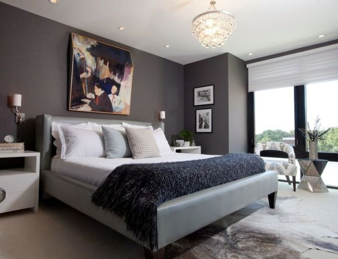 Modern Bedroom With Masculine Look For Men Dark Grey Wall Paint As Well Nice Painting Over The Bed Emphasize Impression