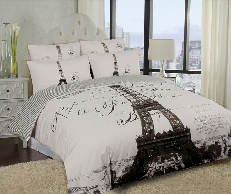 Elegant Paris Eiffel Tower Bedding Twin FullQueen Duvet Cover Or Comforter Combo Set White Grey