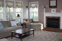 Taupe And Blue Living Room