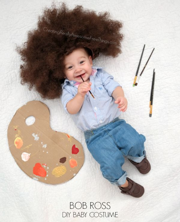 DIY Bob Ross costume Bobs First halloween costumes and
