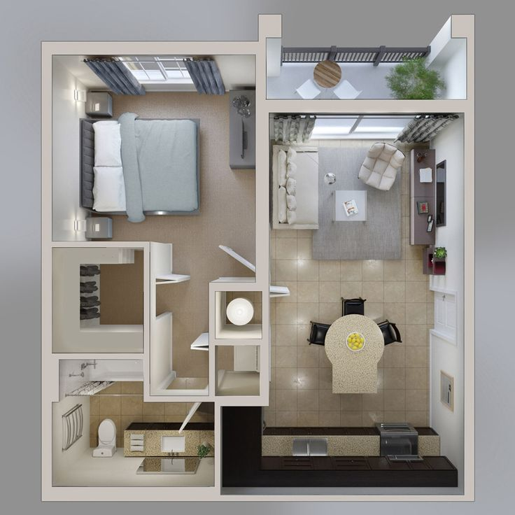 Interior Design 1 Bedroom Apartment