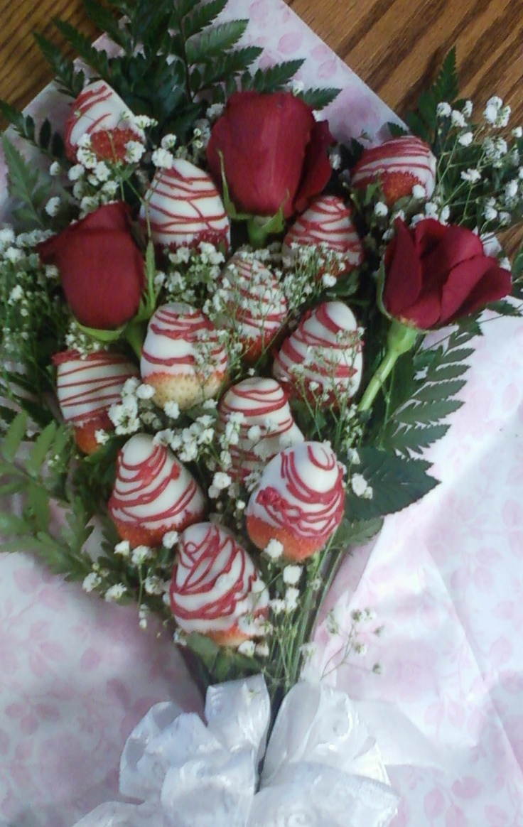 Chocolate covered Strawberry and Rose Bouquets Great for VDay and just when you want to say I