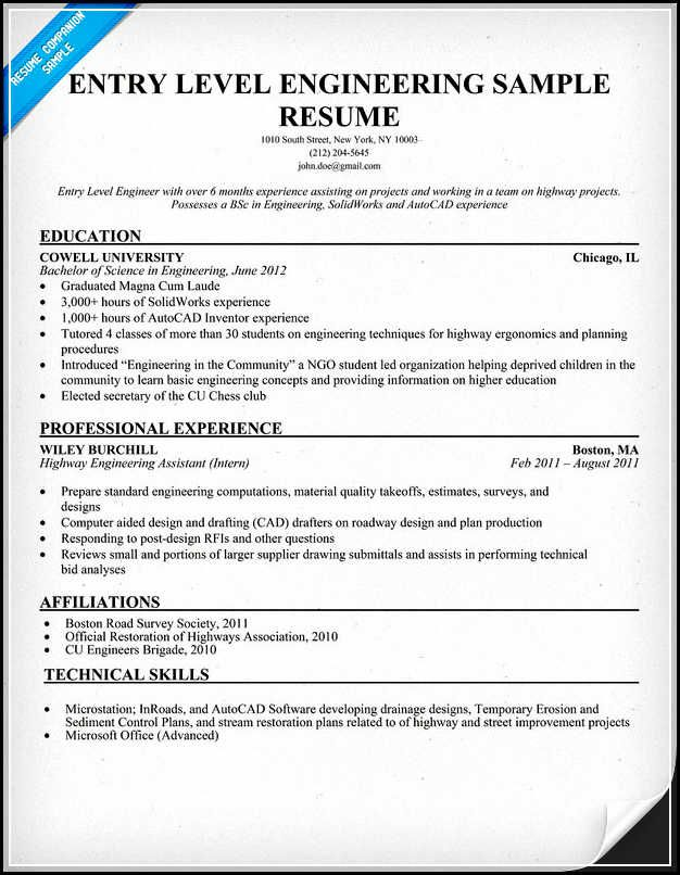 Entry level engineering resume must be written excellently