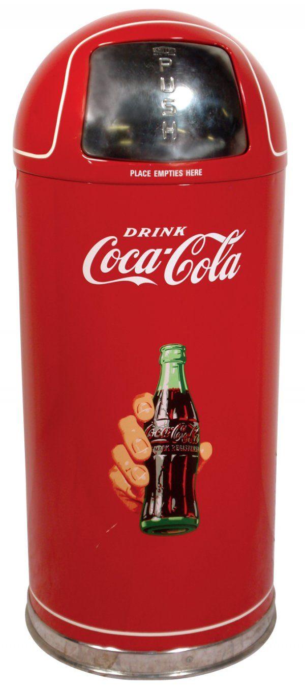 Coca Cola Kitchen Items 0382 Coca Cola Metal Trash Can