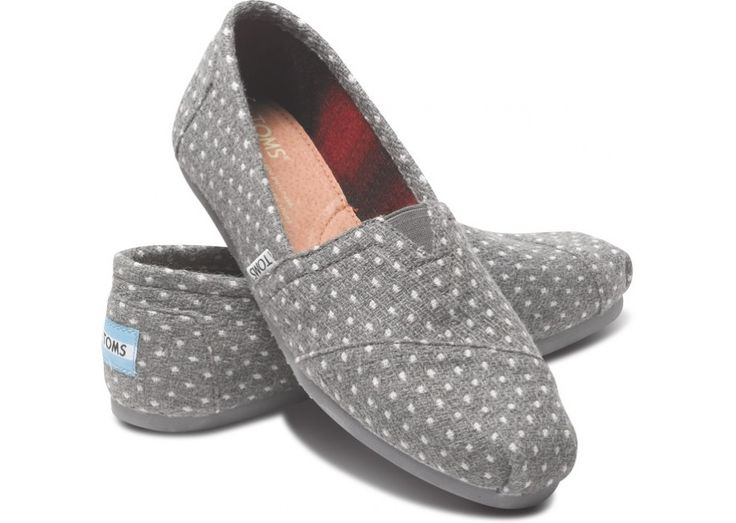 Grey Dot Womens Classics hero…I love my one pair of Toms. Id be happy with any other pair that is cute. Sort of partial to grey.