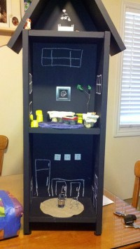 Chalk board Paint on recycled shelf = new doll house ...