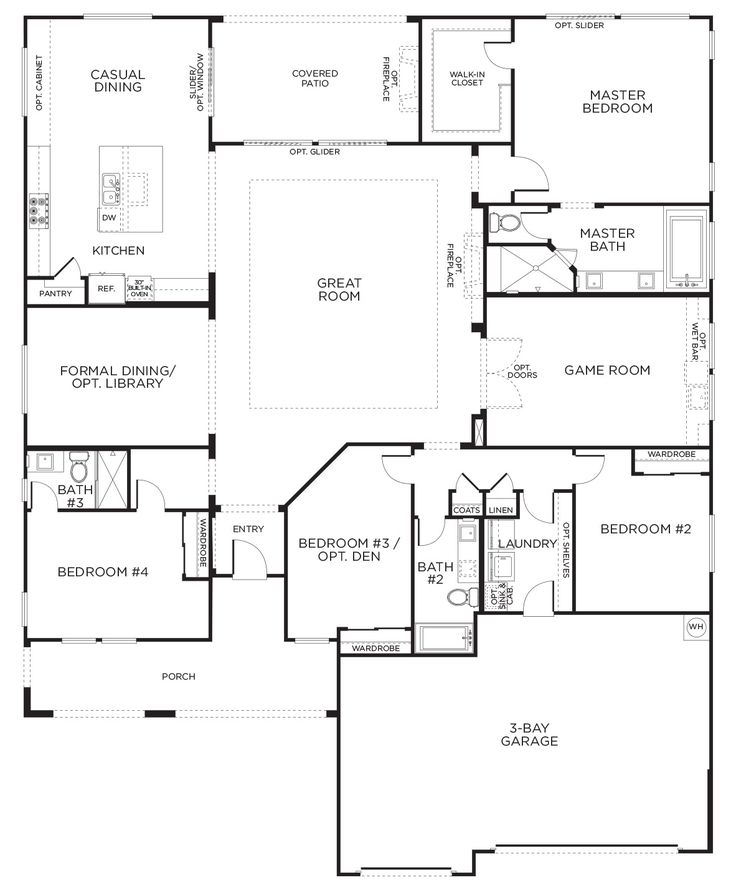 Love this layout with extra rooms. Single Story Floor Plans   One Story House Plans   Pardee Homes