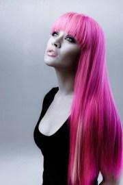 hot pink toxic bangs long hair