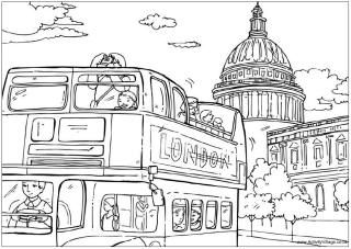 London bus colouring page, St Paul's Cathedral colouring