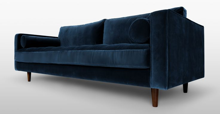 Blue Velvet Mid Century Modern Sofa Upholstered Sven Mid Century Modern Furniture Furniture