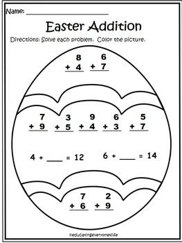 Addition worksheets, Easter and Worksheets on Pinterest