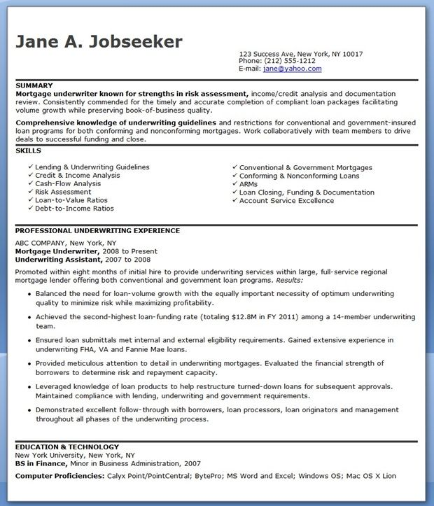 Mortgage Underwriter Resume Examples  resumes and cover letters  Pinterest  Finance Resume