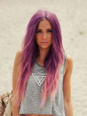 purple and light pink ombre hair