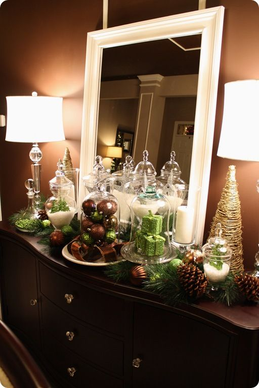 Christmas vignette using $1 Walmart ornaments