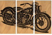 Vintage Motorcycle Screen Print Wood Painting Wall Art ...