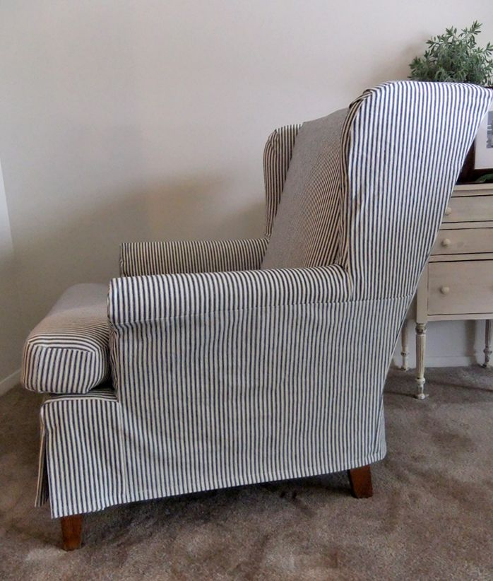 chair covers for wingback chairs kids egg casual ticking slipcover a comfy chair. slipcovermaker.com   sue's ...