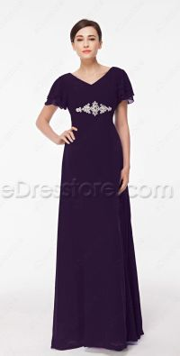 Modest Eggplant Purple Mother of the Bride Dress Plus Size ...