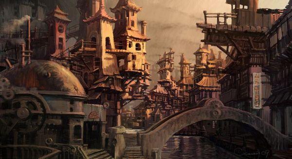 steampunk fantasy city concept
