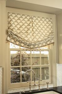 Relaxed roman shade with bead fringe. Love the print ...
