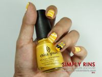Here Comes the Sun Nail Art Design. Bright yellow outline ...