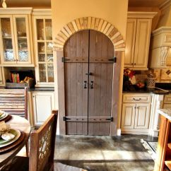 Kitchen Cabinets Storage Brookhaven Arched Pantry Door With Brick Accents, Distressed ...