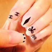 chanel ribbon dots nail art design