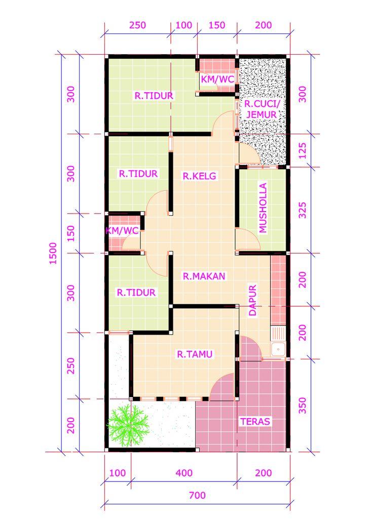 20 Desain Rumah 3 Kamar Tidur 1 Mushola  Desain Rumah Modern  Denah Rumah  Pinterest  Modern