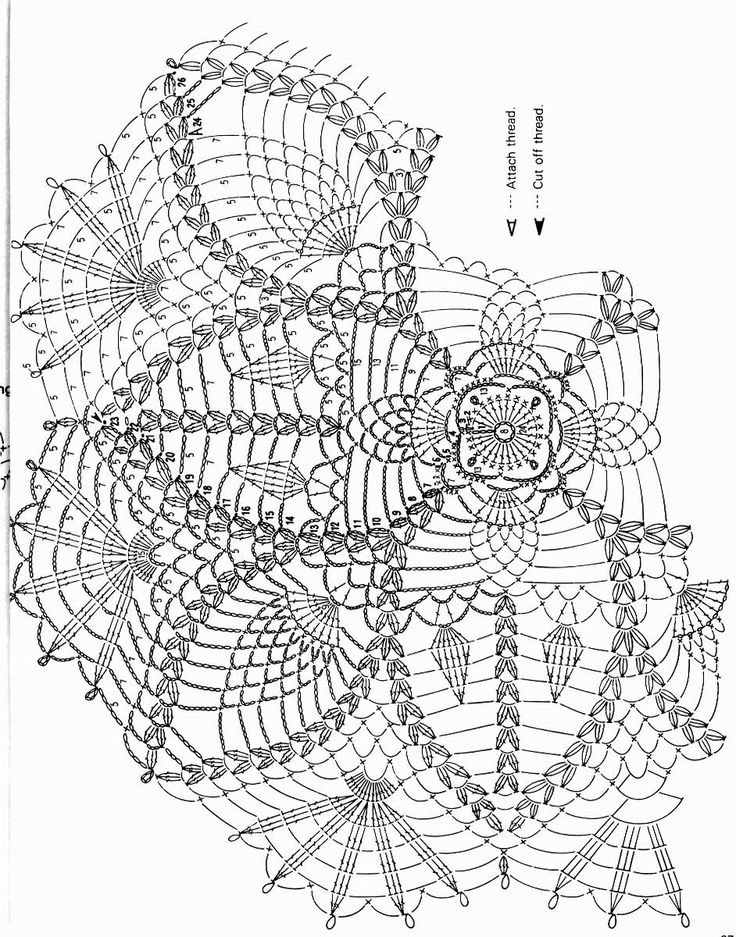 Kira scheme crochet: Diagrams round tablecloth