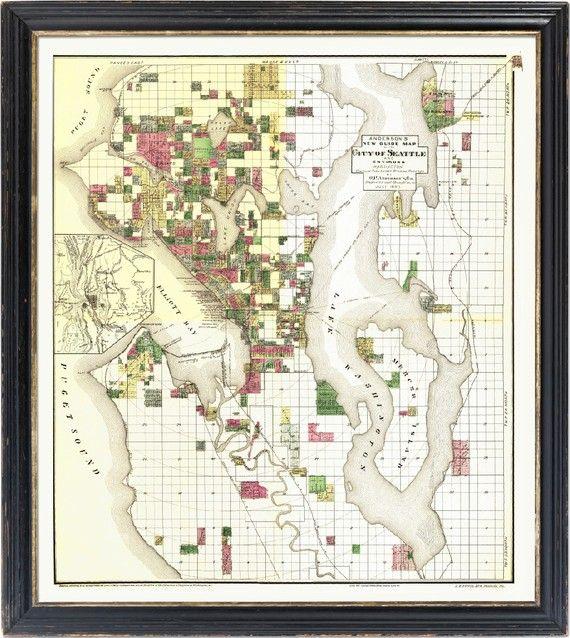 vintage SEATTLE city atlas map west coast print 1890