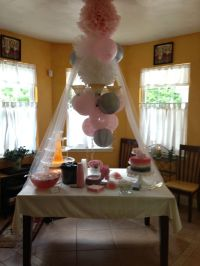 Gray and pink baby shower decorations | Baby shower ...