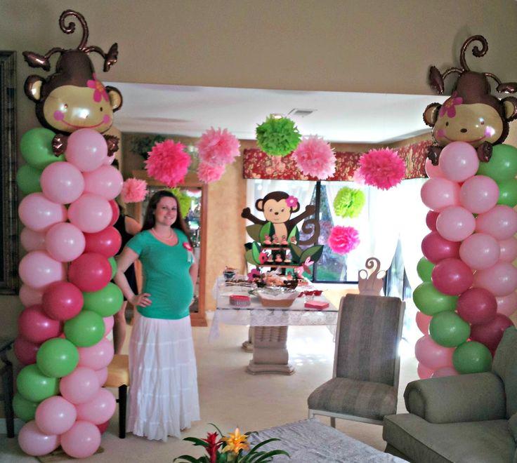 Girl Monkey Baby Shower Decorations