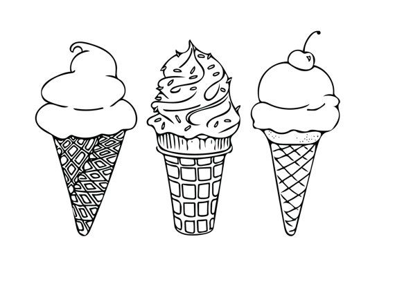 PRINTABLE COLORING SHEET, Instant Download, Ice Cream