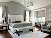 Elegant bedroom... grey, white and a splash of blue ...