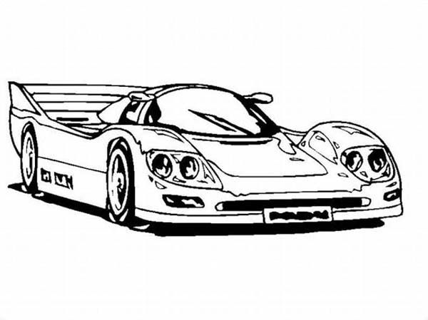 Super Race Car with Awesome Back Spoiler Coloring Page