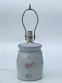 Red Wing stoneware crock jar lamp, vintage country ...