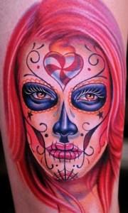 la catrina with red hair tattoo