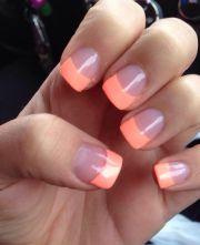 acrylic nails #peach #short #cute