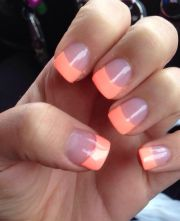 acrylic nails #peach #short #cute