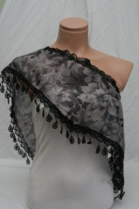 Black Flowers Scarf Shawl Little Things Store by LtS9 on ...