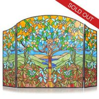 """Tiffany-Style 30.5"""" Tree of Life Stained Glass Fireplace ..."""