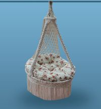Hand Made Macrame Natural Cotton Hammock Chair by