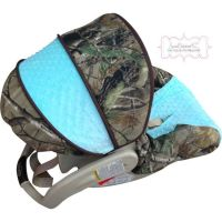 Infant Car Seat Cover Camo with Saltwater Blue