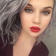 makeup colors gray hair blue