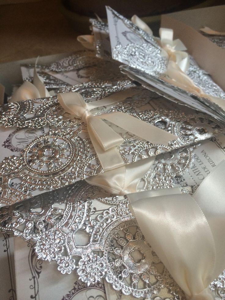 Customized DIY Wedding Invitations  Metallic Doilies  Pearl Gold Shimmer Paper  Custom