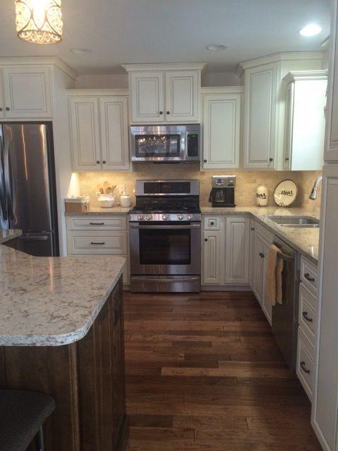 concrete kitchen sink coastal table off-white coffee glazed cabinets, walnut stained island ...
