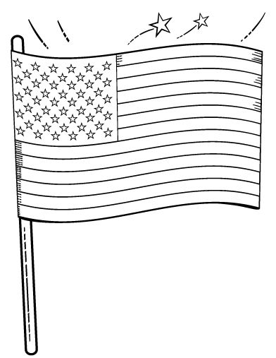 Printable American flag coloring page. Free PDF download