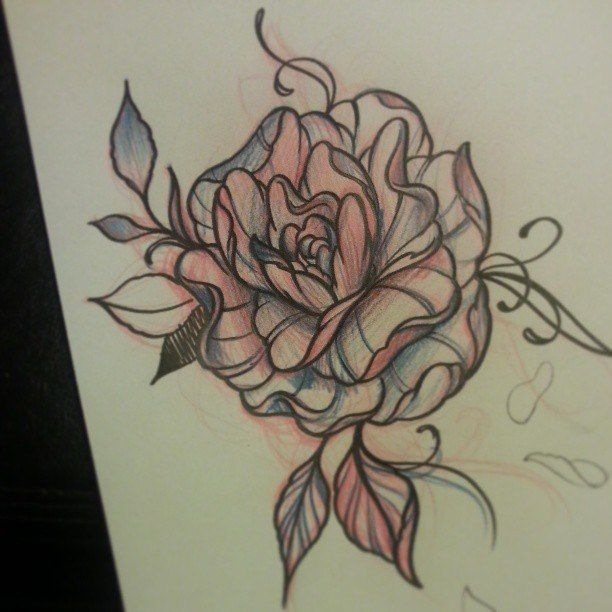 Messy Rose Tattoo Sketch  Art  Pinterest  Rose Tattoos
