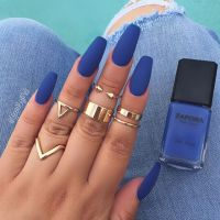 Matte Blue Acrylic Coffin Nails Pictures to Pin on ...